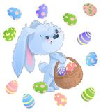 Happy Easter Bunny. Vector illustration clipart set. For Easter greeting card, invitation, with cute rabbit and Easter eggs on isolated background Stock Image