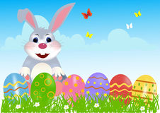 Happy easter bunny width eggs Royalty Free Stock Images