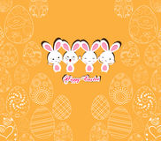 Happy Easter with bunny on the yellow background pattern of ornamental eggs Stock Images