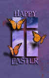 Happy Easter Butterflies with Cross Stock Photo