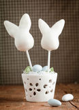 Happy Easter Cake pops. With candy easter eggs on a wooden plate Royalty Free Stock Photography