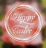 Happy Easter calligraphic headline, blurred background Stock Photos