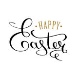 Happy Easter calligraphic text for the greeting card. An inscription written by hand with a thin pen. Black text on a white background. Vector illustration Stock Illustration