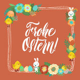 Happy Easter Calligraphy Greeting Card. Modern Brush Lettering and Floral Wreaths. Joyful wishes, holiday greetings. Happy Easter German Calligraphy Greeting Stock Photos