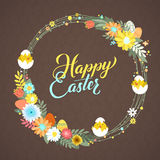 Happy Easter Calligraphy Greeting Card. Modern Brush Lettering and Floral Wreaths. Joyful wishes, holiday greetings. Pastel background Royalty Free Stock Photography