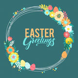 Happy Easter Calligraphy Greeting Card. Modern Brush Lettering and Floral Wreaths. Joyful wishes, holiday greetings. Pastel background Stock Photo