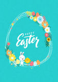 Happy Easter Calligraphy Greeting Card. Modern Brush Lettering and Floral Wreaths. Joyful wishes, holiday greetings. Pastel background Royalty Free Stock Images