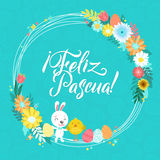 Happy Easter Calligraphy Greeting Card. Modern Brush Lettering and Floral Wreaths. Joyful wishes, holiday greetings. Happy Easter Spanish Calligraphy Greeting Stock Photography