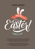 Happy Easter Calligraphy Greeting Card. Modern Brush Lettering. Joyful Wishes, Holiday Greetings. Pastel Background Stock Photos