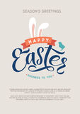 Happy Easter Calligraphy Greeting Card. Modern Brush Lettering. Joyful Wishes, Holiday Greetings. Pastel Background Stock Photo