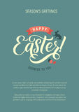 Happy Easter Calligraphy Greeting Card. Modern Brush Lettering. Joyful Wishes, Holiday Greetings. Pastel Background Royalty Free Stock Photography