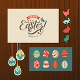 Happy Easter Calligraphy Greeting Card Set. Hand Lettering. Holiday Greetings. Bunny Eggs and Chicken.  Royalty Free Stock Images