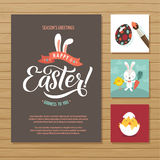 Happy Easter Calligraphy Greeting Card Set. Hand Lettering. Holiday Greetings. Bunny Eggs and Chicken Stock Photography