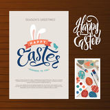 Happy Easter Calligraphy Greeting Card Set. Hand Lettering. Holiday Greetings. Bunny Eggs and Chicken.  Stock Photography