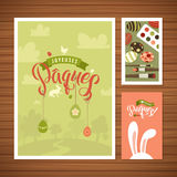 Happy Easter Calligraphy Greeting Card Set. Hand Lettering. Holiday Greetings. Bunny Eggs and Chicken. Happy Easter Calligraphy Greeting Card Set. French Hand Royalty Free Stock Images