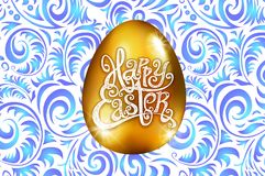 Happy Easter. Calligraphy lettering. Beautiful greeting card. golden egg with abstract blue ornament. Vector. white backround art. Happy Easter. Calligraphy Royalty Free Stock Photography