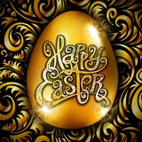 Happy Easter. Calligraphy lettering. Beautiful greeting card. golden egg with abstract gold ornament. Vector. black backround. Art Stock Images