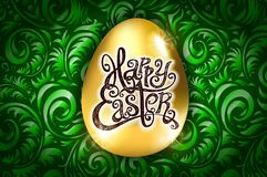 Happy Easter. Calligraphy lettering. Beautiful greeting card. golden egg with abstract green ornament. Vector. backround art. Happy Easter. Calligraphy lettering Royalty Free Stock Photography