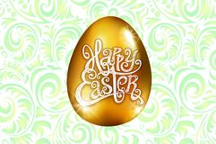 Happy Easter. Calligraphy lettering. Beautiful greeting card. golden egg with abstract green ornament. Vector. white backround art. Happy Easter. Calligraphy Royalty Free Stock Photo
