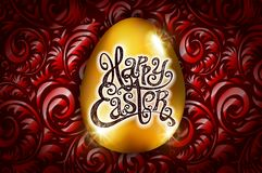Happy Easter. Calligraphy lettering. Beautiful greeting card. golden egg with abstract red ornament. Vector. black backround. Art Royalty Free Stock Photography