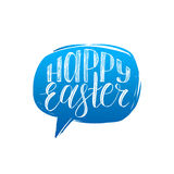 Happy Easter calligraphy in speech bubble. Vector greeting card with hand lettering. Religious holiday illustration. Stock Photography