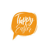 Happy Easter calligraphy in speech bubble. Vector greeting card with hand lettering. Religious holiday illustration. Stock Photo