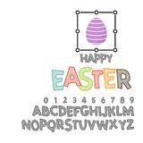 Happy Easter - font. Vector alphabet.Hand Lettering script font. Typography alphabet for Designs: Logos, Packaging. Happy Easter, can be used for your design royalty free illustration