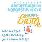Happy Easter - font. Vector alphabet.Hand Lettering script font. Typography alphabet for Designs: Logos, Packaging. Happy Easter, can be used for your design stock illustration