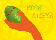 Happy Easter Card. Illustration with hand holding 3D easter egg Royalty Free Stock Photo