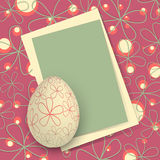 Happy Easter Card. Template for Happy Easter card with egg and copy space Royalty Free Stock Images
