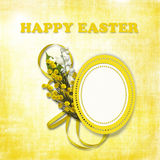 Happy Easter Card. Greeting Easter card  with flowers on the shabby background Royalty Free Stock Images