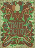 Happy Easter card in art nouveau style, vector Stock Photography