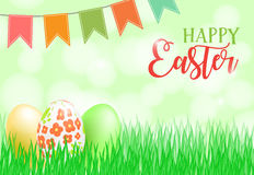 Happy Easter card, banner, flyer, invitation template. Painted eggs in fresh green grass, bright decoration and lettering Royalty Free Stock Photos