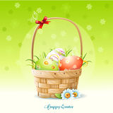 Happy Easter card and a basket with Easter eggs-EPS10. Happy Easter card and a basket with Easter eggs Royalty Free Stock Images