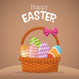 Happy easter card basket egg Stock Images
