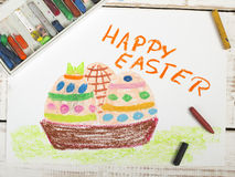 Happy Easter card with basket, eggs Stock Photo