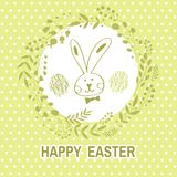 Happy Easter card. Happy Easter .Beautiful   greeting card with flower frame,  rabbit, egg ,easter bunny and handdrawn lettering  in cartoon style. Vector Stock Photo