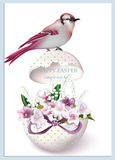 Happy Easter card with bird sitting on a cracked egg and spring floral bouquet. Vintage retro style Postcard. Happy Easter card with cracked egg and spring Royalty Free Stock Photography