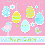 Happy Easter Card with Birds Royalty Free Stock Photography