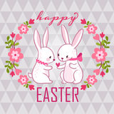 Happy easter card with bunnies. Stock Photo
