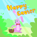 Happy Easter Card Bunny Basket Spring Landscape Royalty Free Stock Photo