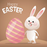Happy easter card bunny big egg Royalty Free Stock Photo