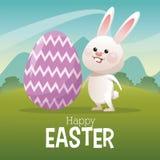 Happy easter card bunny big egg landscape Stock Images