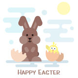 Happy easter card with bunny and chicken in the egg shell. Royalty Free Stock Photos