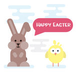 Happy easter card with bunny and chicken. Royalty Free Stock Image