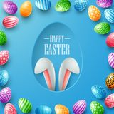 Happy Easter card with bunny ears hiding in egg hole and colorful eggs frames on blue background Stock Images