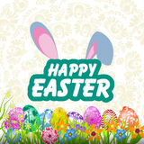 Happy Easter card with bunny, eggs and  lowers Royalty Free Stock Images