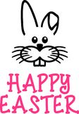 Happy easter card with bunny face. Vector stock illustration