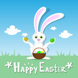 Happy Easter Card Bunny Hold Eggs Basket Spring Landscape Green Grass Rabbit Blue Sky Stock Image