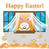 Happy easter card with bunny in the window. Eggs and flying butterflies Royalty Free Stock Images